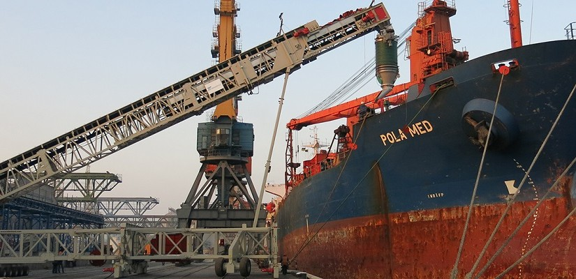Telestack TS 550 rail mounted ship loader in operation at Illichivisk Port, Ukraine.