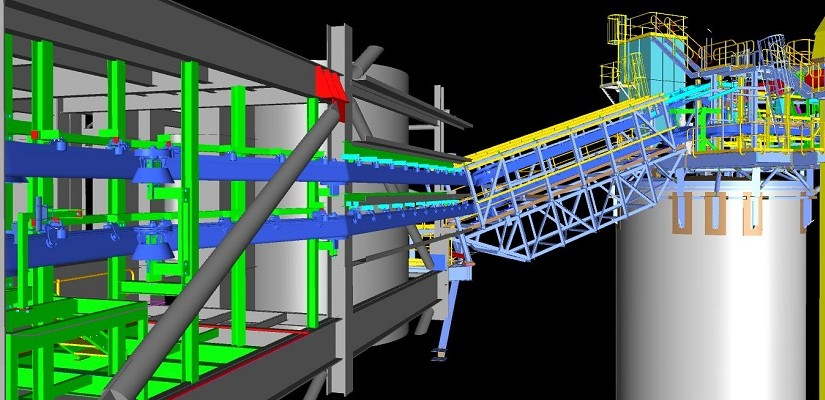 3D model layout of the system. These images (supplied by Wave International) show the versatility of the system including the turns, lifts and declines. Approximately 300m of endless Sicon conveyor belting safely conveys 50t/ph of caustic calcined magnesia from plant to silos. The conveyor is shown in blue.