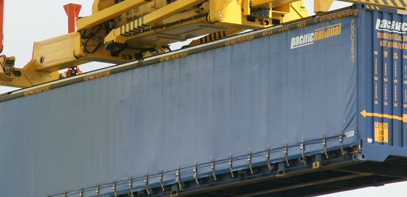Pacific National container at Chullora. Photo: Cameron Boggs