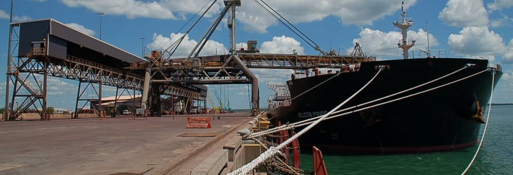 Iron ore vessel at East Arm Wharf. Photo: Port of Darwin