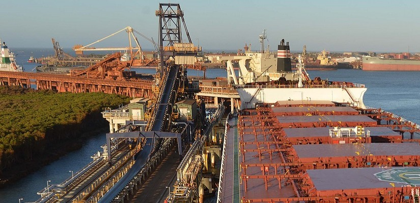 First Roy Hill iron ore ship the MV Anangel Explorer being loaded at Port Hedland. Photo: Roy Hill