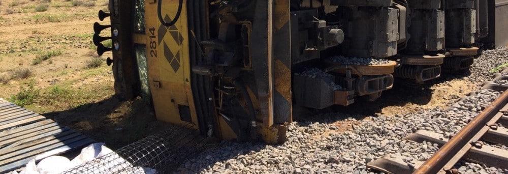 The Aurizon locomotive derailed in north west Queensland. Photo: Queensland Rail