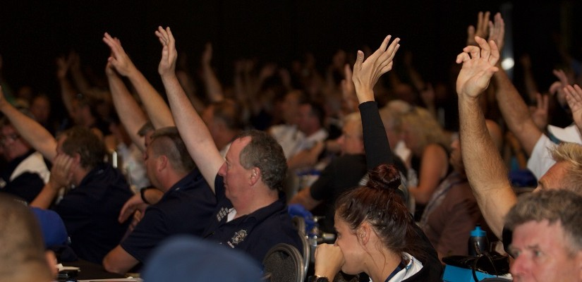 MUA members voting for a merger with the CFMEU. Photo: MUA