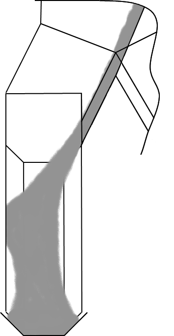 Figure 3: A splitter chute with enough length to centralise the material flow.