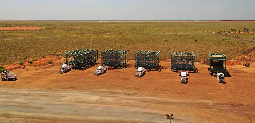Around 1900 components of plant are being transported to the site of BHP's South Flank Iron Ore Mine in the Pilbara, Western Australia.