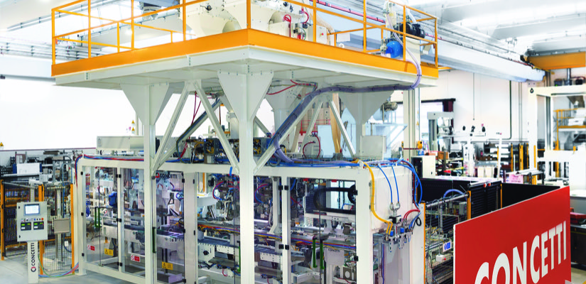Italian automatic bagging and palletising system manufacturer Concetti has launched a new packaging system for animal feed supplements called the IGF 1200 Gemini.