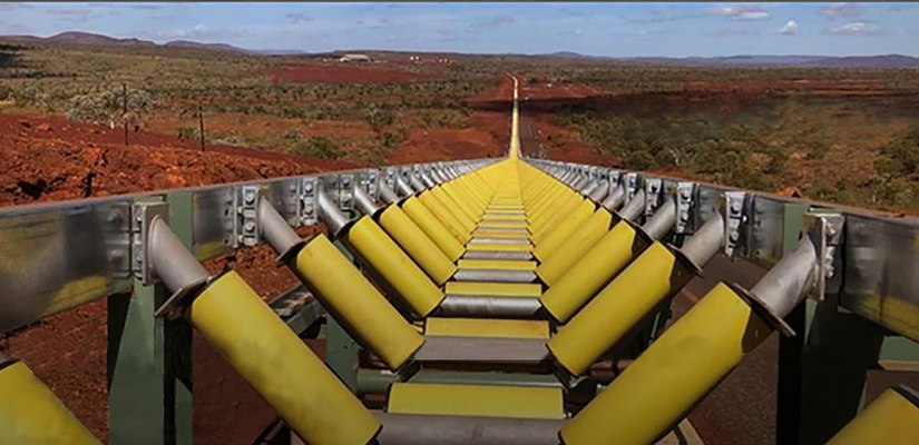 Around 50 kilometres of conveyor belt will be progressively fitted to the first all-composite roller overland conveyor in the Pilbara.