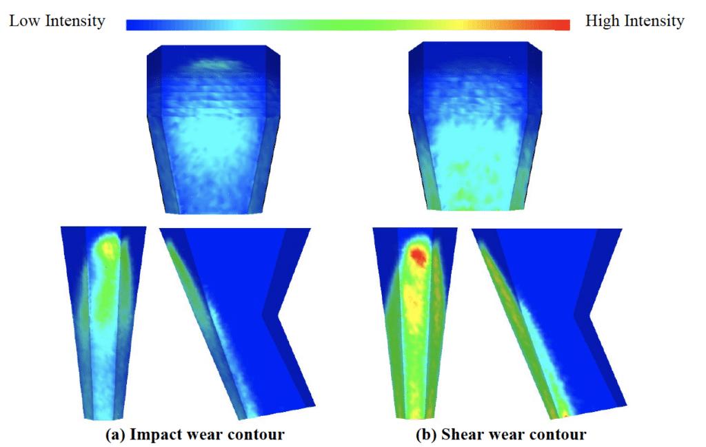 Figure 5: Wear contours on the stacker chute – DEM