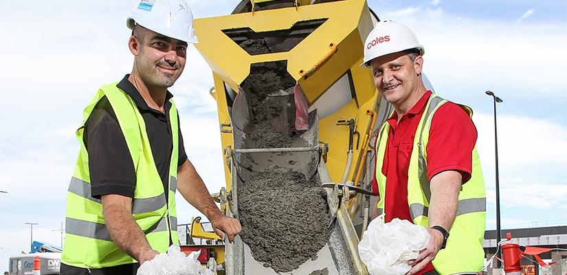 Engineer Steve Rawson of SR Engineering who helped develop Polyrock with Coles Cobblebank Development Manager Jason Delaney