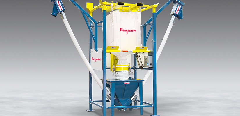 Flexicon has launched a new bulk bag unloader with dual flexible screw conveyors to feed to downstream processes without dust.