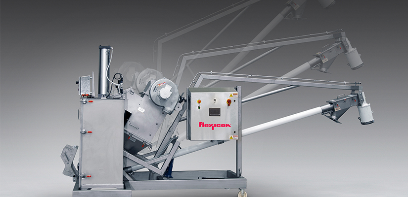 Flexicon has released a new sanitary mobile tilt-down flexible screw conveyor with integral bag dump station and compactor that allows material to be manually dumped from handheld bags into elevated process equipment.